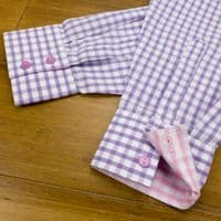 Grenouille Ladies Long Sleeve Lilac Gingham Check Easy Care Cotton Shirt